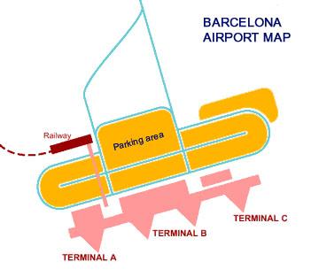 Barcelona airport map El Prat BCN airport terminal